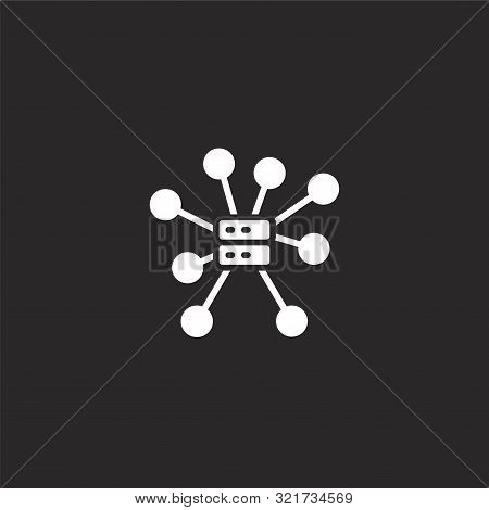 Centralized Icon. Centralized Icon Vector Flat Illustration For Graphic And Web Design Isolated On B