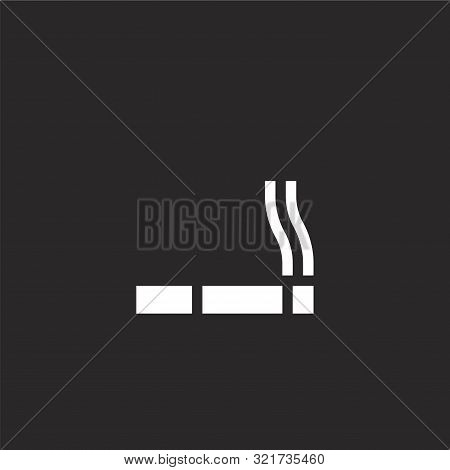 Cigar Icon. Cigar Icon Vector Flat Illustration For Graphic And Web Design Isolated On Black Backgro