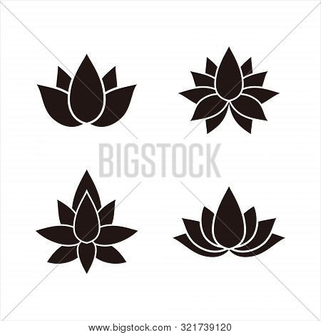 Set Of Lotus Flowers Icon Isolated On White Background. Lotus Flowers Icon Vector Simple Sign. Lotus
