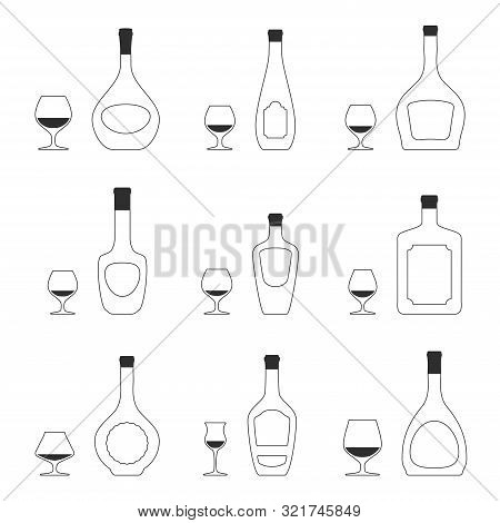 Vector Set Of 9 Different Snifters And 9 Bottles Of Brandy Silhouettes. Isolated Objects On White Ba