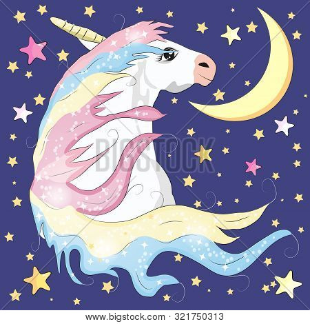 Kawaii Night Sky Composition With Unicorn Roses Stars And Moon Crescent Isolated On Whte Background.