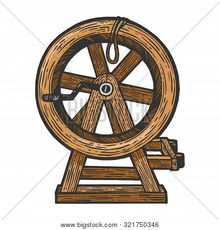 Breaking Wheel Medieval Torture Device Sketch Engraving Vector Illustration. Scratch Board Style Imi