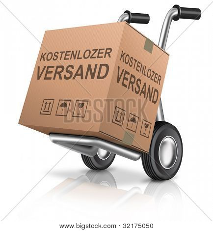 free shipping or delivery for online order of a web shop cardboard box with text ecommerce icon sending package concept for internet shopping german kostenlozer versand