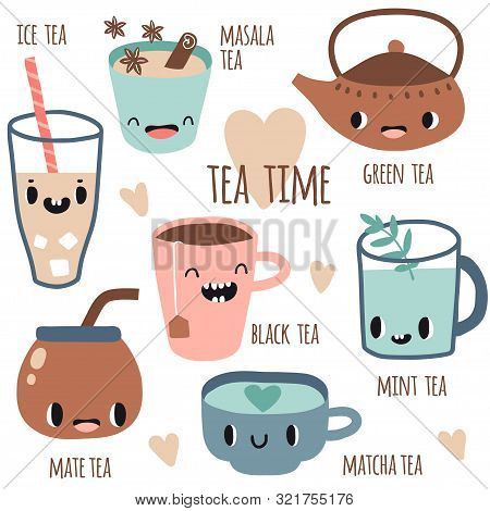 Set Of Different Kinds Of Tea With Smile Faces. Vector Illustration Flat Style. Green, Black Tea, Ma