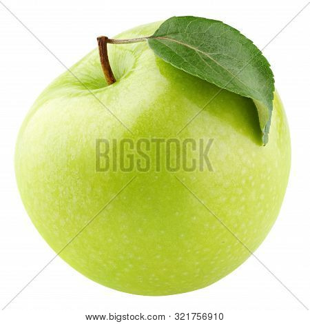 Single ripe green apple fruit with green leaf isolated on white background. Granny smith apple with clipping path. Full Depth of Field poster