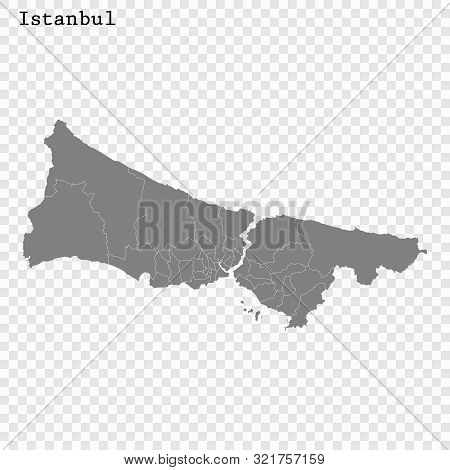 High Quality Map Istanbul City. Vector Illustration