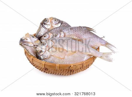 Dried (one-sun) Marinated Butterfly Silver Barb In Bamboo Basket With White Background