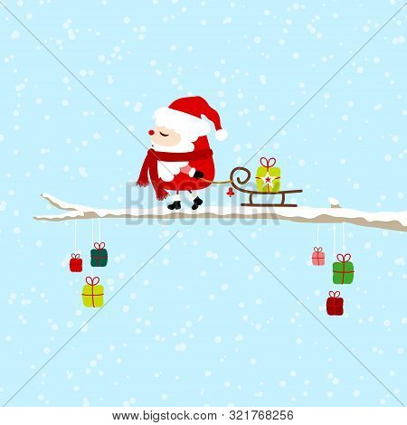 Little Santa Pulling Sleigh With Gift On Bough Blue