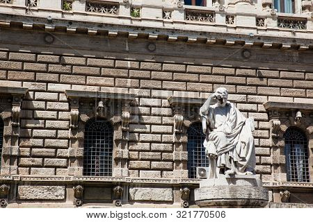 Rome, Italy - April, 2018: Detail Of The Palace Of Justice The Seat Of The Supreme Court Of Cassatio