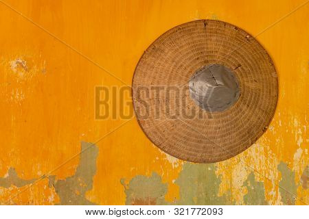 [ Vietnamese Symbol ] Vietnamese Tradition Hat And Culture Traditional On The Yellow Wall,vintage St