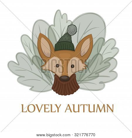 Vector Illustration Of A Cartoon Cute Red Fox In A Warm Pullover And Green Cap With A Bob On The Whi