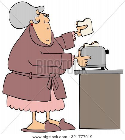 Illustration Of An Old Woman Wearing A Robe And Nightgown Putting Slices Of Bread In A Toaster.