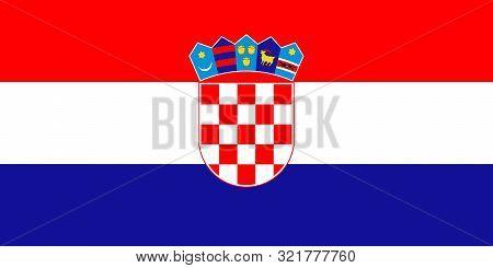 Vector Flag Of Croatia. Eps 10 Vector Illustration. Croatian Flag. Zagreb. Hrvatska Zastava