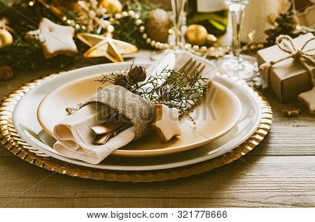 Christmas Or New Year Table Setting. Place Setting For Christmas Dinner. Holiday Decorations.