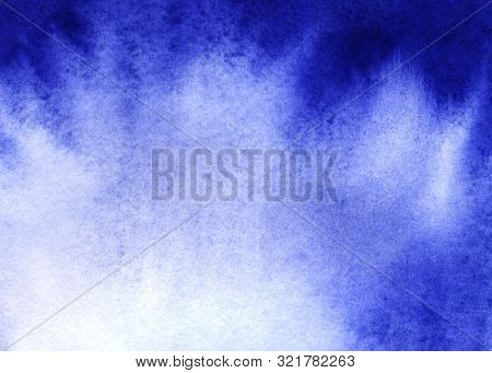 Abstract Watercolor Background. Monochrome Gradient Fill With Granulation Effect. Saturated Ultramar
