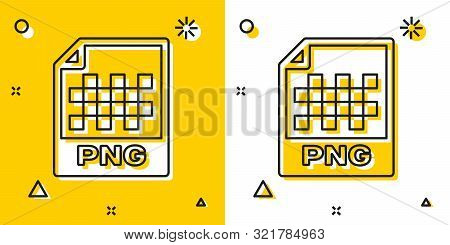 Black Png File Document. Download Png Button Icon Isolated On Yellow And White Background. Png File