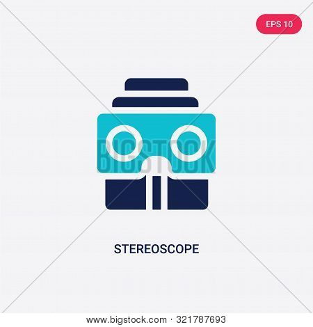 two colored stereoscope vector icon from augmented reality.