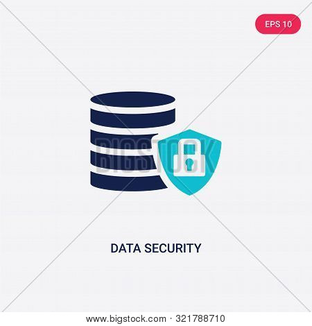 two colored data security vector icon from big data.