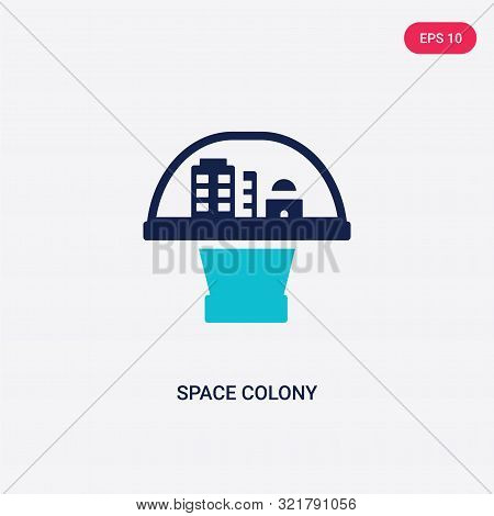 two colored space colony vector icon from astronomy.