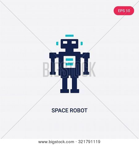 two colored space robot vector icon from astronomy.