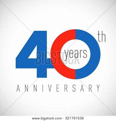 40 Th Anniversary Numbers. 40 Years Old Congrats, Colorful Logotype. Congratulation Idea. Isolated A