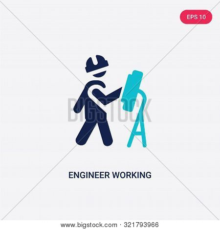 Two Colored Engineer Working Vector Icon From Behavior. 2 Color Engineer Working Concept. Blue Engin