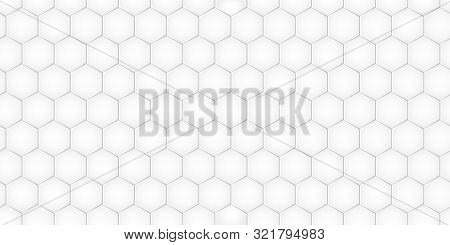 Geometric Pattern With Hexagons, Monochrome Tile. Honeycomb Background. Vector Illustration