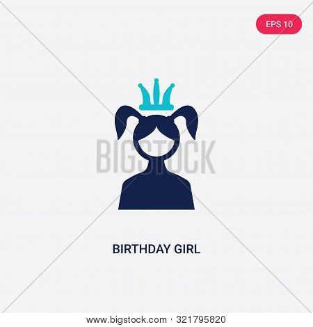 Two Colored Birthday Girl Vector Icon From Birthday Party And Wedding. 2 Color Birthday Girl Concept