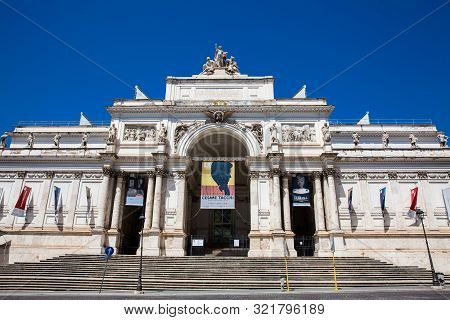 Rome, Italy - April, 2018: Palace Of The Exhibitions A Neoclassical Exhibition Hall, Cultural Center