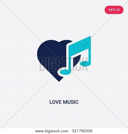two colored love music vector icon from birthday party and wedding.