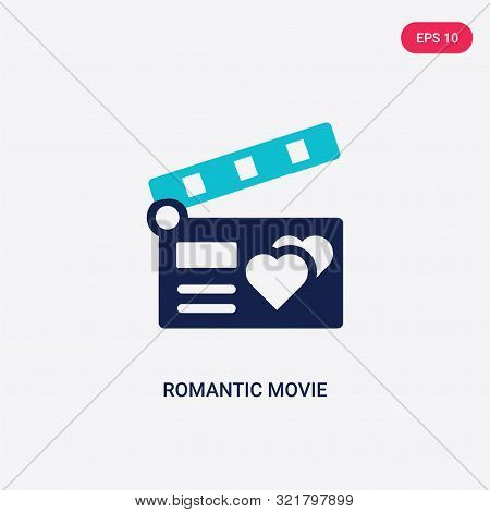 two colored romantic movie vector icon from love wedding.