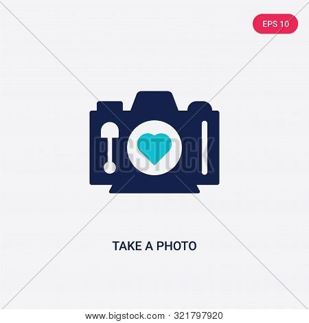 Two Colored Take A Photo Vector Icon From Love Wedding. 2 Color Take A Photo Concept. Blue Take A Ph