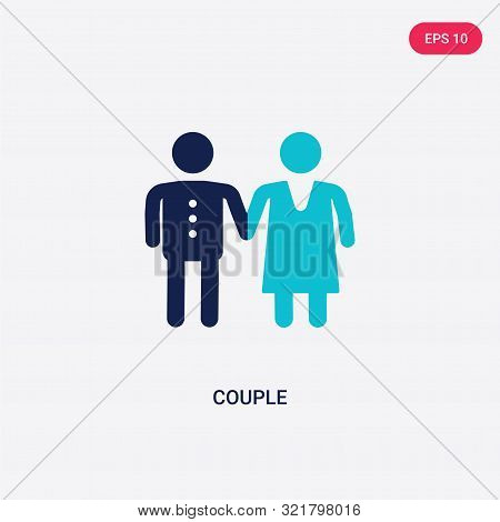 Two Colored Couple Vector Icon From Love Wedding. 2 Color Couple Concept. Blue Couple Sign. Couple I
