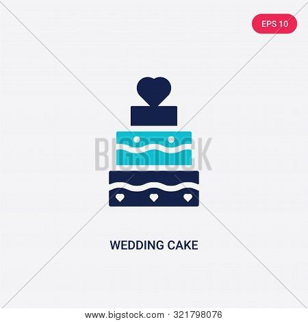two colored wedding cake vector icon from love wedding.