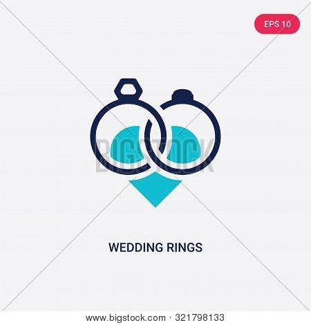 two colored wedding rings vector icon from love wedding.
