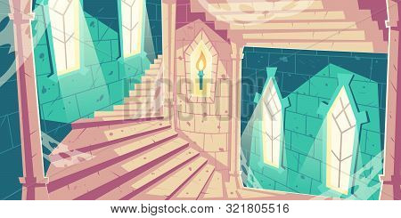 Spiral Staircase Into Dungeon In Medieval Castle Or Palace Old, Abandoned Tower With Sunlight Going