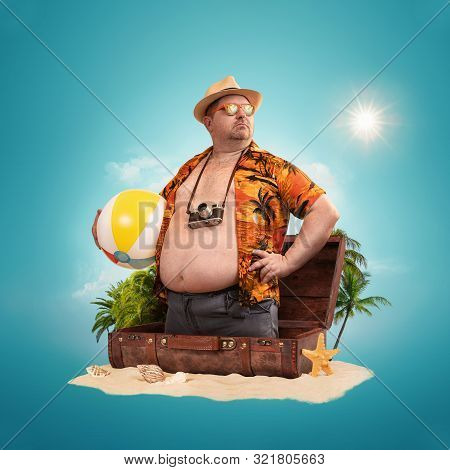 Ready For The Holidays, Travel Concept. Funny Overweight Man Standing Out Of The Suitcase