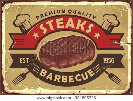 Steak House Old Sign Design With Tasty Beef Meat And Vintage Emblem On Golden Background. Retro Post