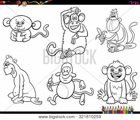 Black And White Coloring Book Cartoon Illustration Of Monkeys Animal Funny Characters Set