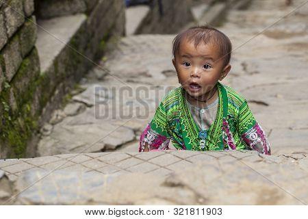Sapa, Vietnam- June 13, 2019:village Cat Cat,sapa Locals, Vietnam, Little Vietnamese Boy,portrait Of