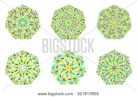Abstract Mosaic Pattern Heptagon Polygon Set - Geometrical Vector Element On Background