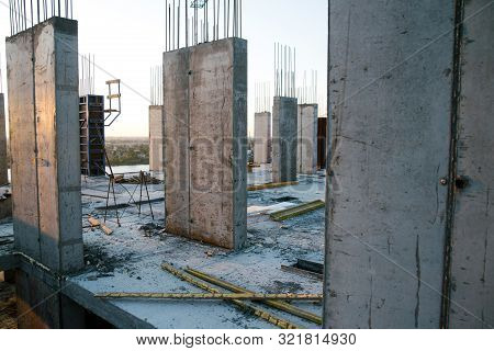 Under Construction Multi-storey Residential Building. Floors In The House