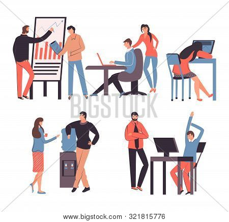 Set Of Office Worker Workgroup Workflow Businessmen And Businesswomen Icons Set Isolated Vector Illu