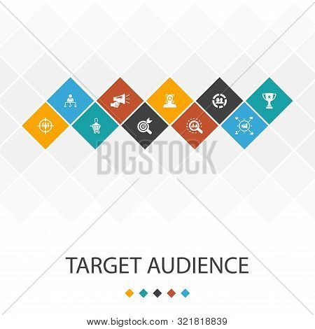 Target Audience Trendy Ui Template Infographics Concept.consumer, Demographics, Niche, Icons