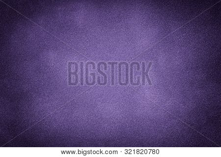 Dark Violet Matte Background Of Suede Fabric, Closeup. Velvet Texture Of Seamless Purple Leather. Fe