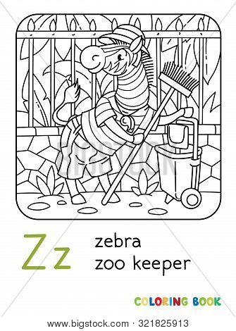 Zebra Zoo Keeper Coloring Book. Animal Alphabet Z