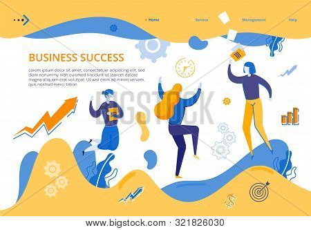 Banner Group Young Girls Rejoices Business Success. Woman Happily Jumping Holding Book In Her Hand.
