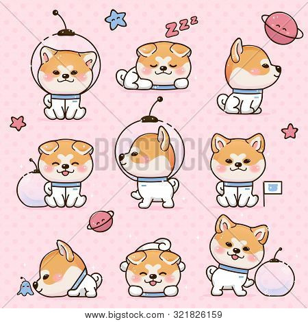 Set Kawaii Smile Japanese Dog Akita Inu Cartoon. Funny Stickers With Animals. Dog Is Sleeping, Walki