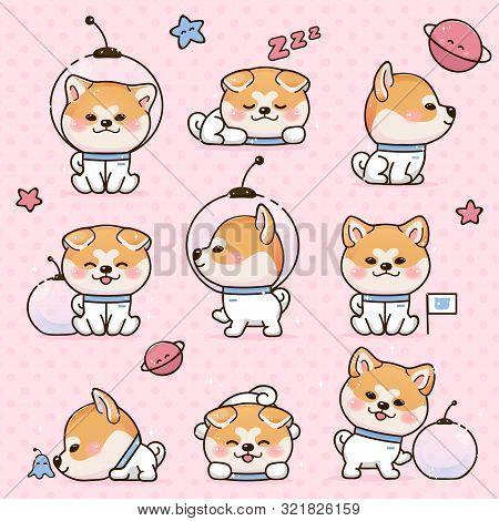 Set Kawaii Smile Japanese Dog Akita Inu Cartoon. Funny Stickers With Animals. Dog Is Sleeping, Walki