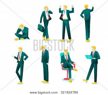 Banner Collection Emotions Business Person Flat. Set Guy In Business Suit Experiences Strong Emotion